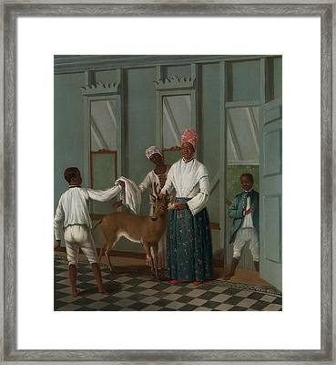 Servants Washing A Deer Framed Print by Agostino Brunias