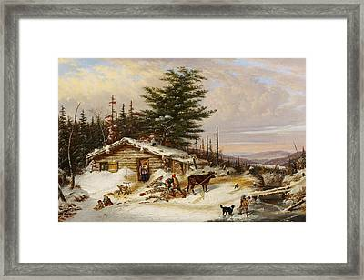 Settler's Log House Framed Print by Cornelius Krieghoff