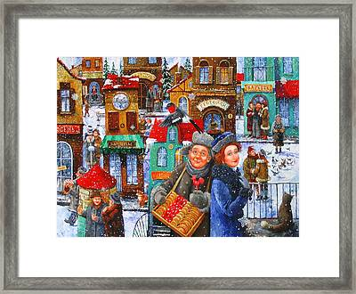 Seven Snowflakes Over My Town Framed Print