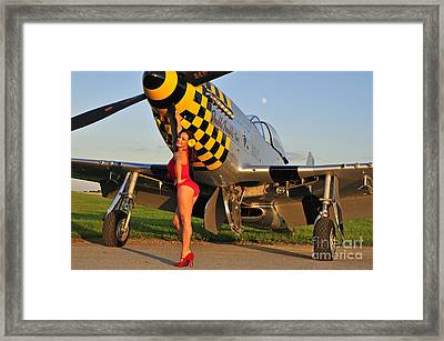 Sexy 1940s Style Pin-up Girl Posing Framed Print