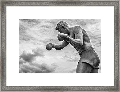Shadow Boxer Stone Man Statue Framed Print by John Williams