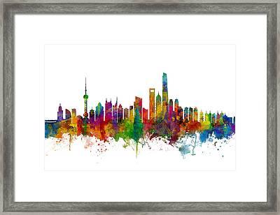 Shanghai China Skyline Framed Print by Michael Tompsett