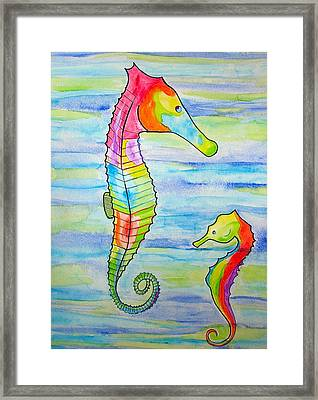 Framed Print featuring the painting Shave-ice Seahorses by Erika Swartzkopf