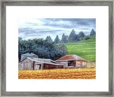 Shed And Grain Bins 17238 Framed Print