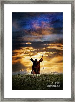 Shepherd Arms Up In Praise Framed Print by Jill Battaglia