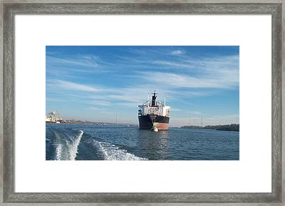 Ship At Anchor In The Columbia River Framed Print by Alan Espasandin