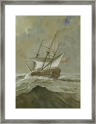 Ship At The Storm Framed Print by Juan Bosco