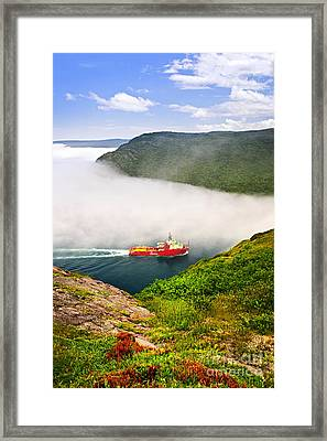 Ship Entering The Narrows Of St John's Framed Print