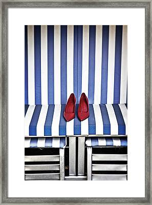 Shoes In A Beach Chair Framed Print by Joana Kruse