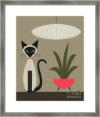 Siamese Cat On Tabletop Framed Print