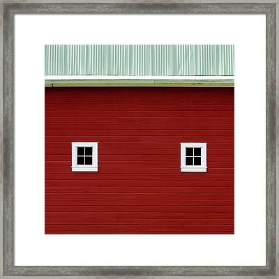 Side Of A Big Red Barn In The Palouse Framed Print by Carol Leigh