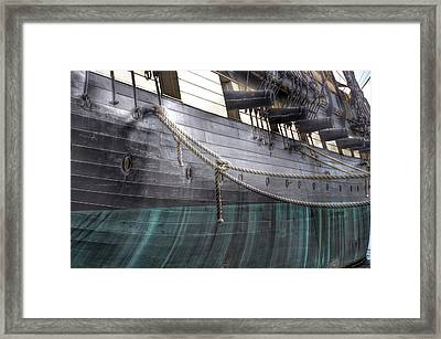 Side Of The Uss Constellation Navy Ship In Baltimore Harbor Framed Print by Marianna Mills