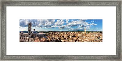 Siena, Italy Panorama Rooftop City View. Siena Cathedral And Mangia Tower Framed Print by Michal Bednarek