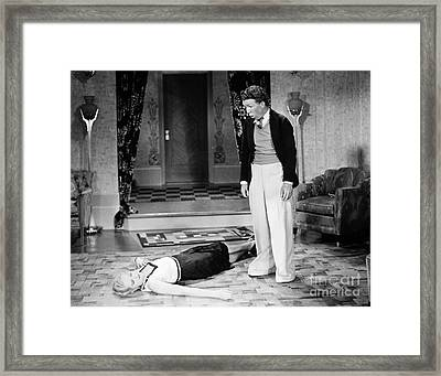 Silent Film Still: Fainting Framed Print by Granger