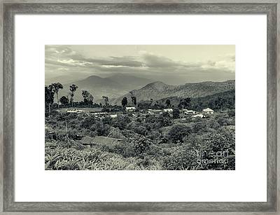 Silerygaon Village With Himalayan Mountain In Backdrop Sikkim Framed Print by Rudra Narayan Mitra