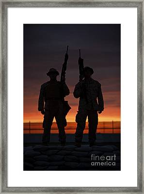 Silhouette Of U.s Marines On A Bunker Framed Print