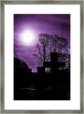 Silhouettes Of Trees And Crosses Framed Print