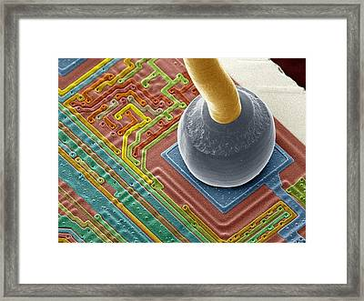 Silicon Chip Micro-wire, Sem Framed Print by Power And Syred