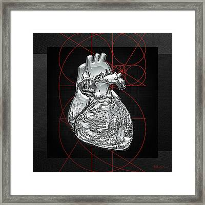 Silver Human Heart On Black Canvas Framed Print