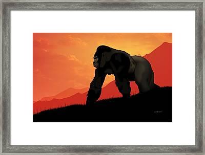 Framed Print featuring the digital art Silverback Gorilla by John Wills