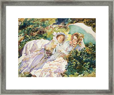 Simplon Pass The Tease Framed Print by John Singer Sargent