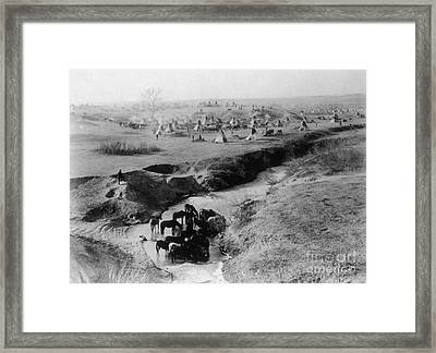 Sioux Camp At Pine Ridge, 1891 Framed Print by Photo Researchers