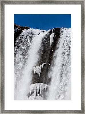 Skogarfoss Waterfall In The Winter Framed Print