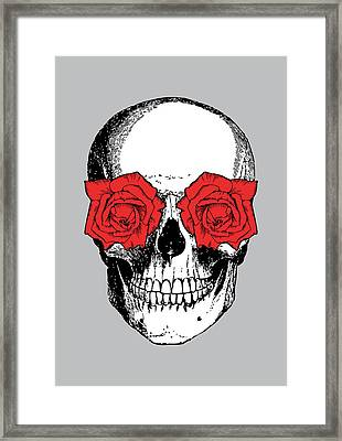 Skull And Roses Framed Print by Eclectic at HeART