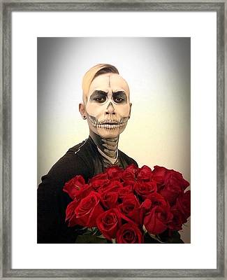 Skull Tux And Roses Framed Print by Kent Chua