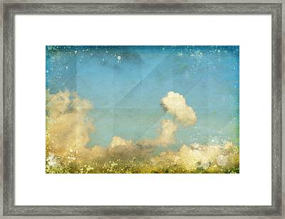 Sky And Cloud On Old Grunge Paper Framed Print by Setsiri Silapasuwanchai