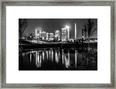 Skyline Of Birmingham Alabama From Railroad Park Framed Print