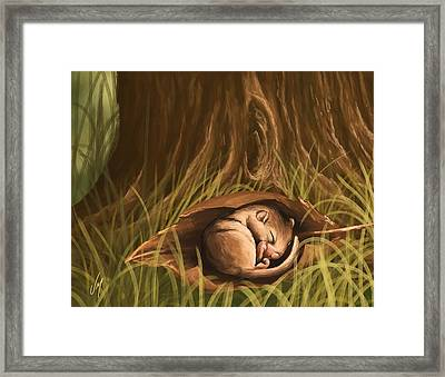 Framed Print featuring the painting Sleeping  by Veronica Minozzi