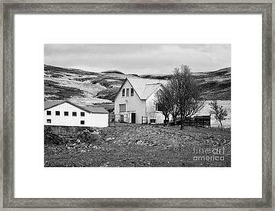 Small Icelandic Farm Homestead Farmhouse With Barn Red Roofed Iceland Framed Print