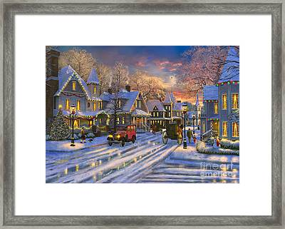 Small Town Christmas Framed Print by Dominic Davison
