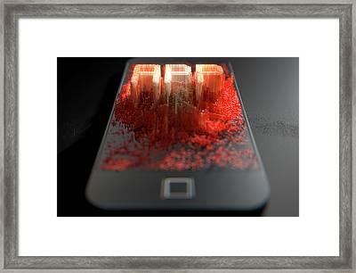 Smart Phone Emanating App Framed Print by Allan Swart