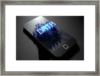 Smart Phone Emanating Data Framed Print by Allan Swart