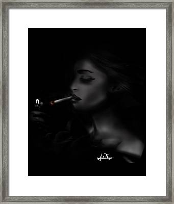 Smoking Girl  Framed Print