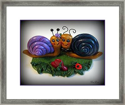 Snails In Love Framed Print by Trina Prenzi