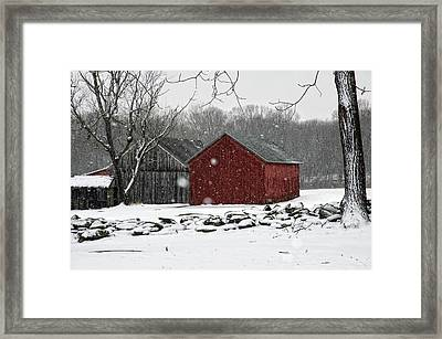 Snow Barns Framed Print