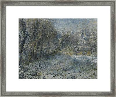 Snow Covered Landscape Framed Print by Auguste Renoir