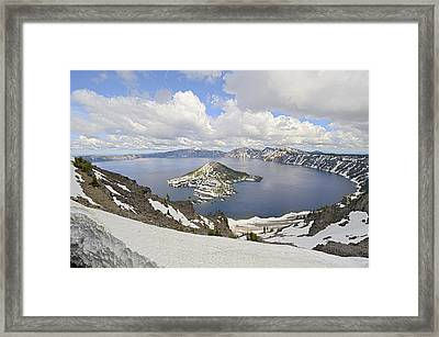 Snow On Crater Lake Hdr Framed Print