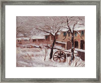 Snow On The Farmhouse Framed Print by Mario Zampedroni