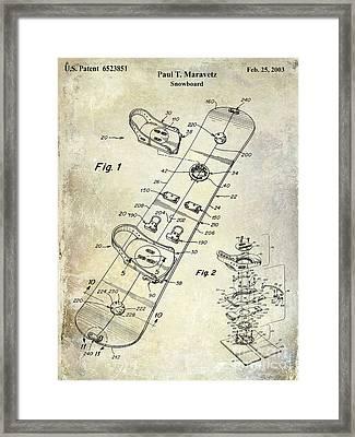 Snowboard Patent Drawing Framed Print by Jon Neidert