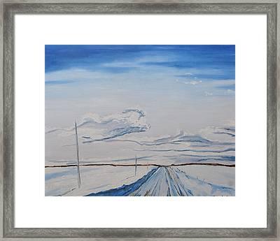 Snowy Road Ch Daniel Lapatrie Quebec Canada Framed Print