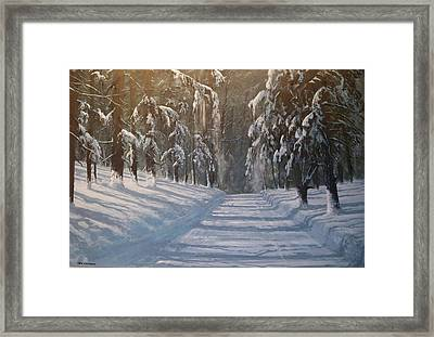 Framed Print featuring the painting Snowy Road by Ken Ahlering