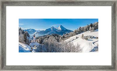 Snowy Church In The Bavarian Alps In Winter Framed Print