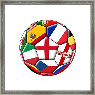Soccer Ball With Flag Of England In The Center Framed Print by Michal Boubin