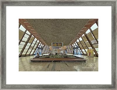 Socialistic Train Station Framed Print