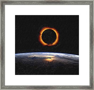 Solar Eclipse From Above The Earth Framed Print
