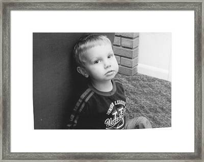 Somber Boy  Framed Print by Lisa Hartsell